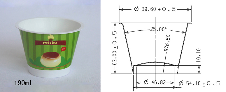 Specifications of 190ml Pudding cup