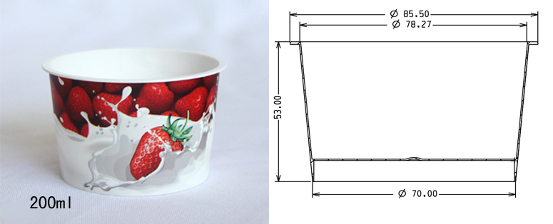 Specifications for 200ml (80g cup) container