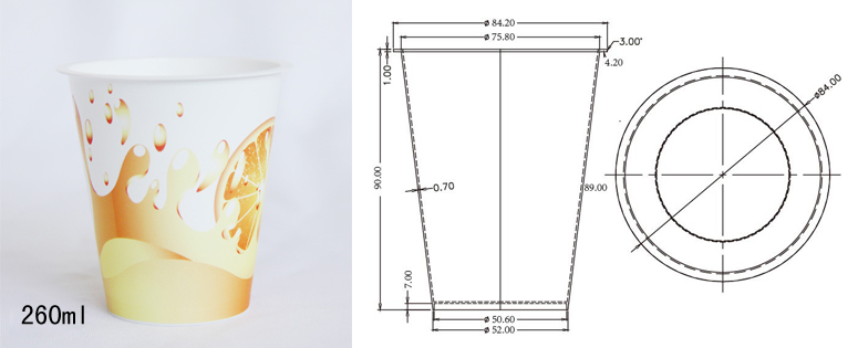 Specifications of 260ml (200g drinking cup) container